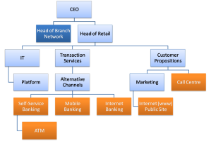 Figure - Partial Retail Banking Org Chart as it relates to channel priorities